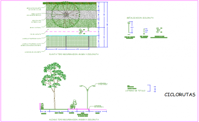 Cycle route plan with elevation dwg file