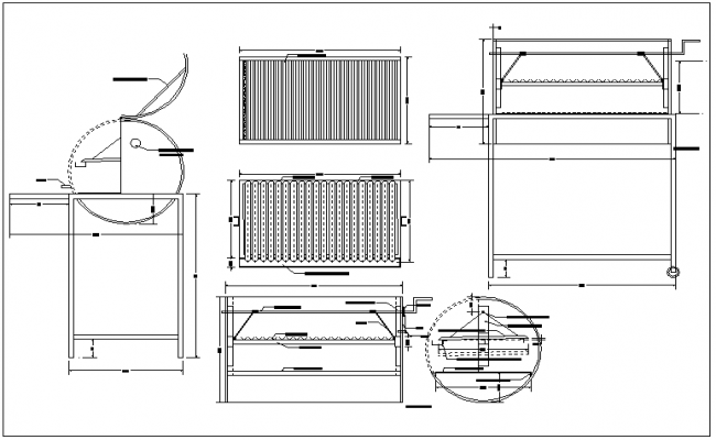 Cylinder structure detail view dwg file