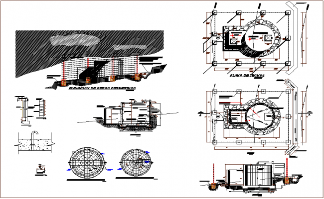 Cylindrical water tank detailing dwg file