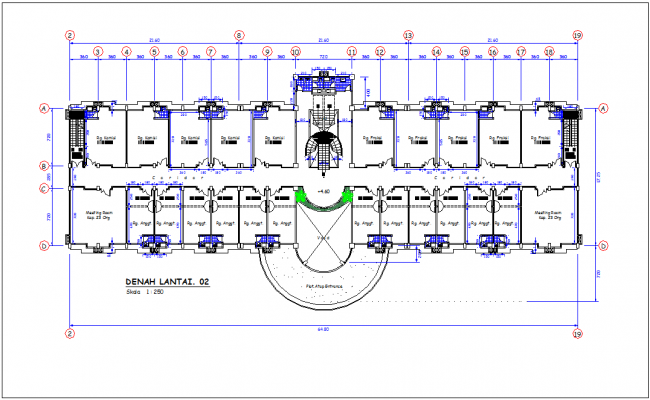 DPRD office second floor plan with architectural view dwg file