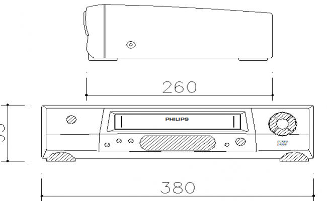 DVD and video player front and top elevation dwg file