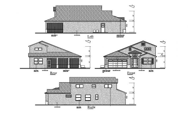 DWG Drawing Four Side Traditional Elevation Of Huge Bungalow AutoCAD File