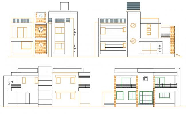 DWG Drawing Modern Style Four Side Bungalow Elevation Design AutoCAD File