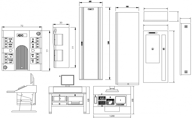 DWG file shows the elevation design of the Computer table, Download the DWG file.