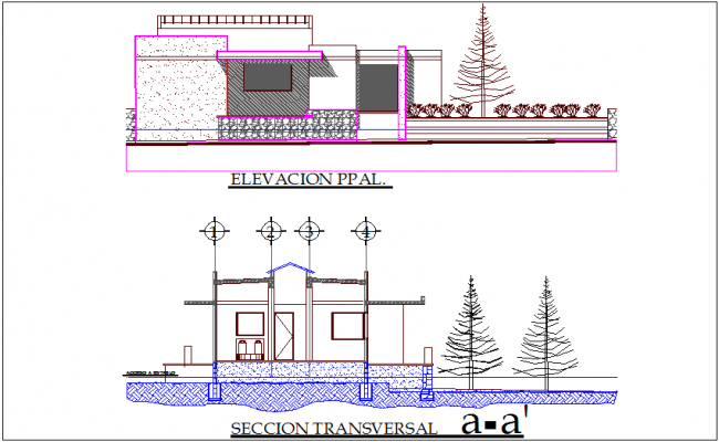 Dairy plant elevation and section view dwg file