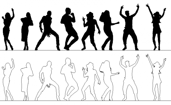 Dancing people detail dwg file