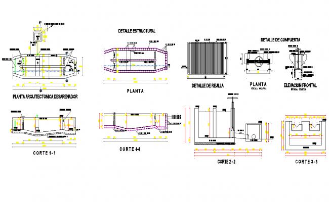 De sander plan and section detail dwg file