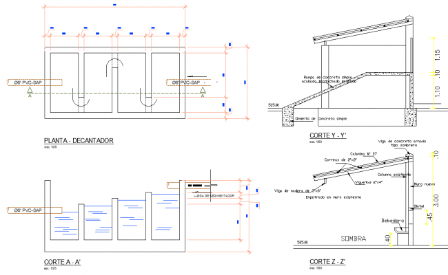 Decanter plan and section detail dwg file