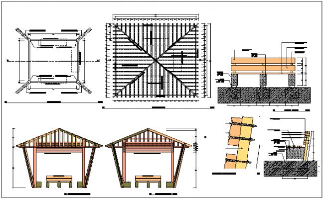Decorative garden pergola architecture project dwg file