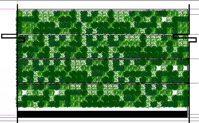 Decorative green wall detail of garden dwg file