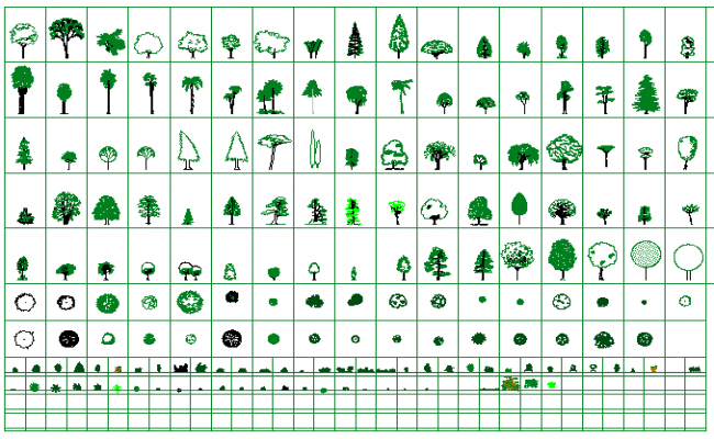 Decorative tree and plant design blocks for garden dwg file