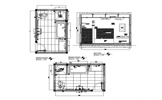 Denah house toilet section, plan and installation details dwg file