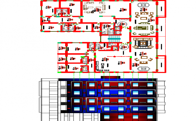 Department building elevation and layout plan dwg file