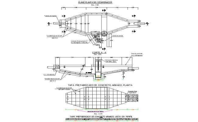 Desander plan and section autocad file