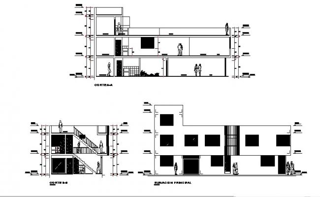 Design  of 2 storey building in autocad