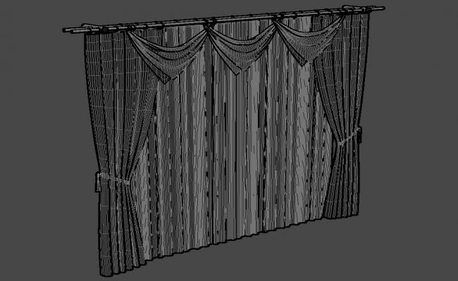 Design Of Stylish Curtain With MS Rod Rendered In 3D MAX File