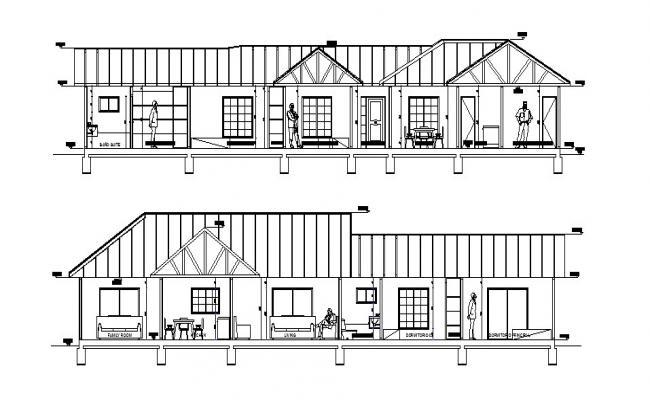 Single Floor House Design In AutoCAD File