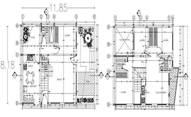 Two storey house design in AutoCAD file