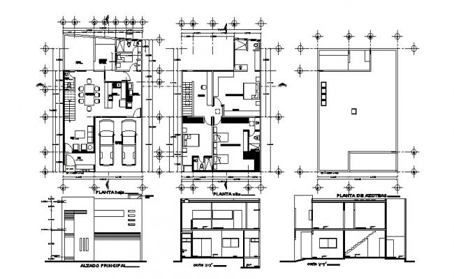 Design of House plan with elevation and section in dwg file