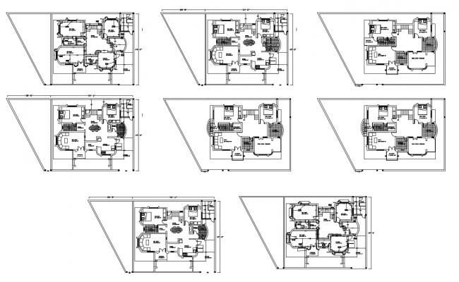 Design of Residential house plan with detail dimension in autocad