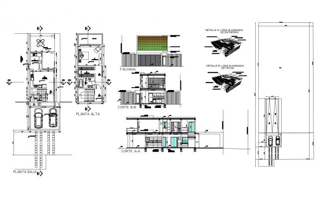 Villa elevation design in DWG file