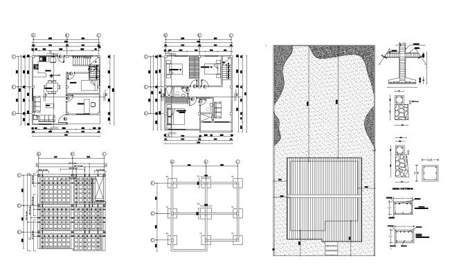 Design of Residential house with foundation plan in dwg file
