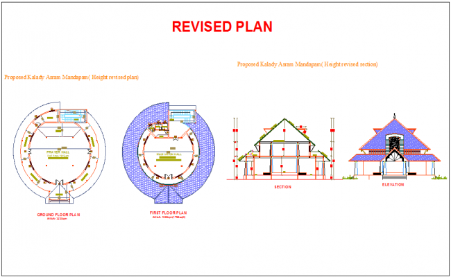 Design of ashram with sectional view
