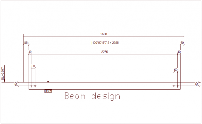 Design of beam with dimension view dwg file