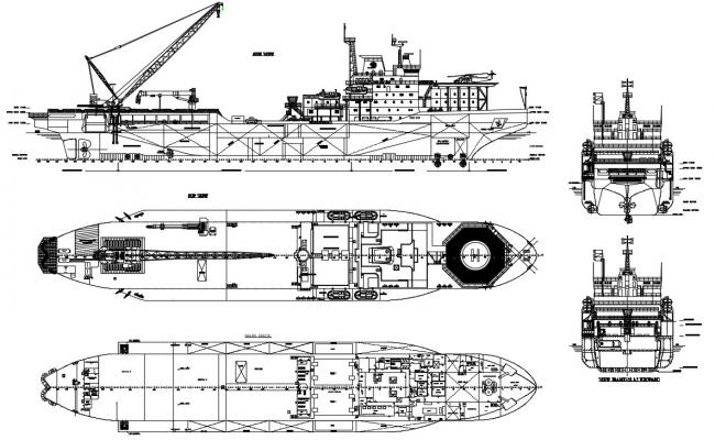 Design of boat with detail dimension in dwg file
