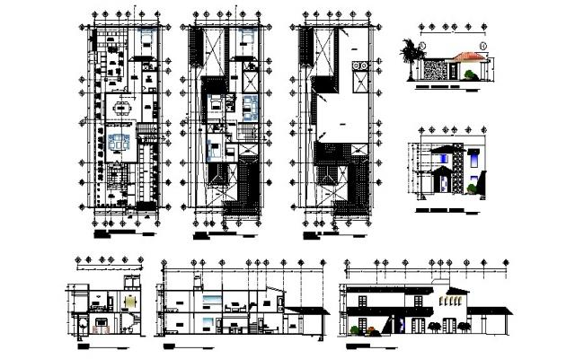 Design of bungalow 10.00mtr x 25.00mtr with elevation and section in dwg file