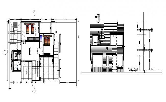 Design of bungalow plan in autocad