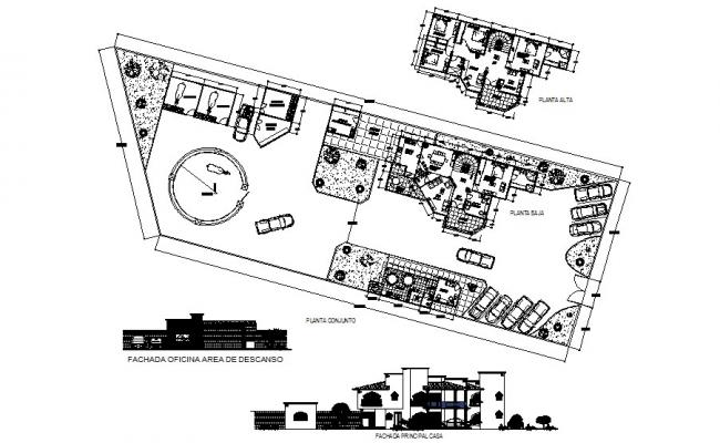 Design of bungalow with elevation and section in dwg file
