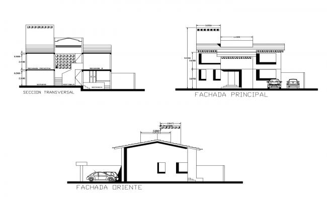 Design of bungalow with elevation details in autocad