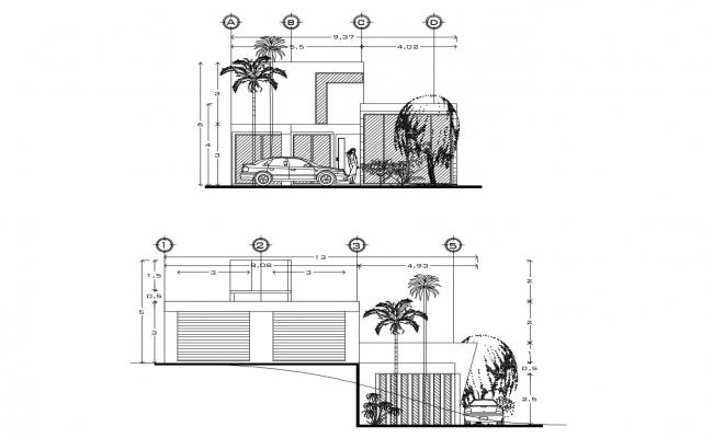 Bungalow elevation drawing  in AutoCAD file