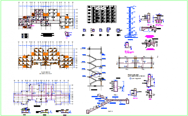 Design of column and beam view with middle arch entrance dwg file