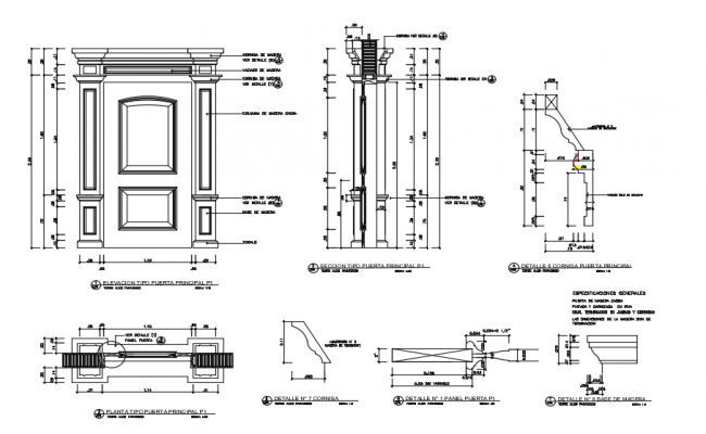Design of door with detail dimension in autocad