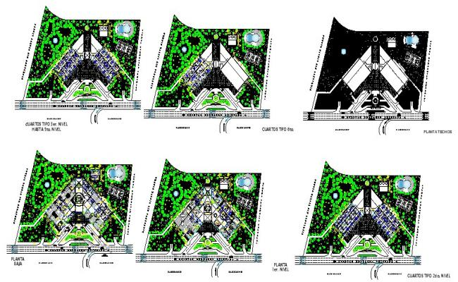 Design of hotel with a section in dwg file