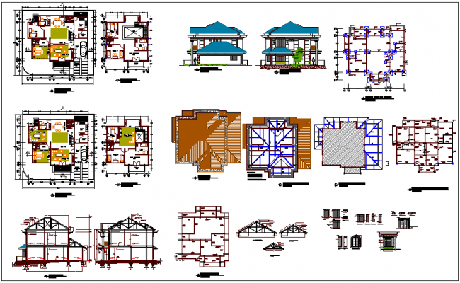 Design of house plan,elevation and section view with structural and door and window detail view dwg file