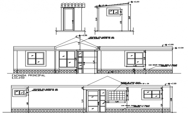 Design of house with elevation in autocad