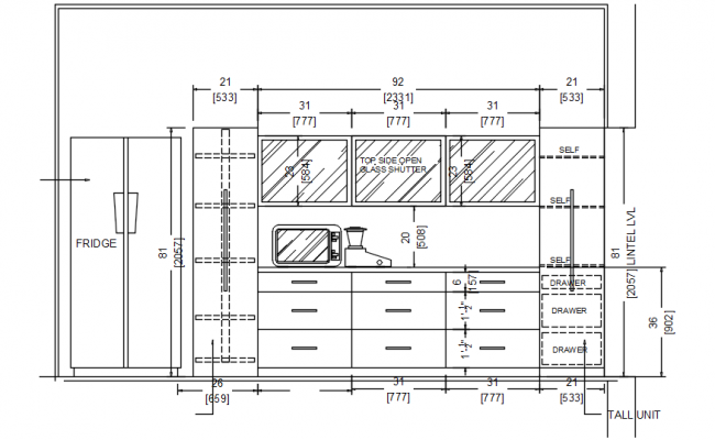 Kitchen Cabinet Layout Design In DWG File
