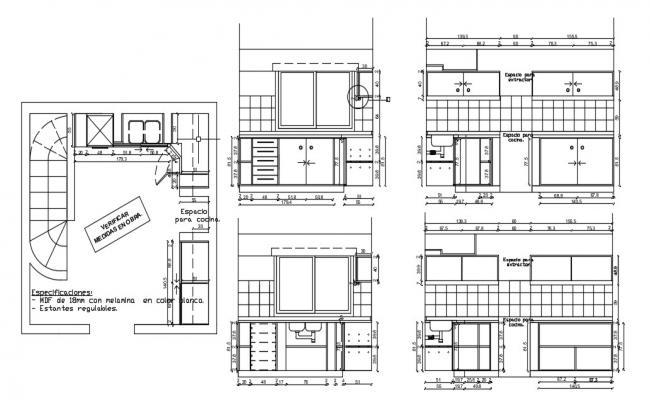 Kitchen plan design  in DWG file