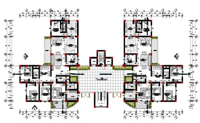 Design of multi-family house plan in autocad