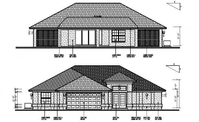 Design of residential bungalow elevation in autocad