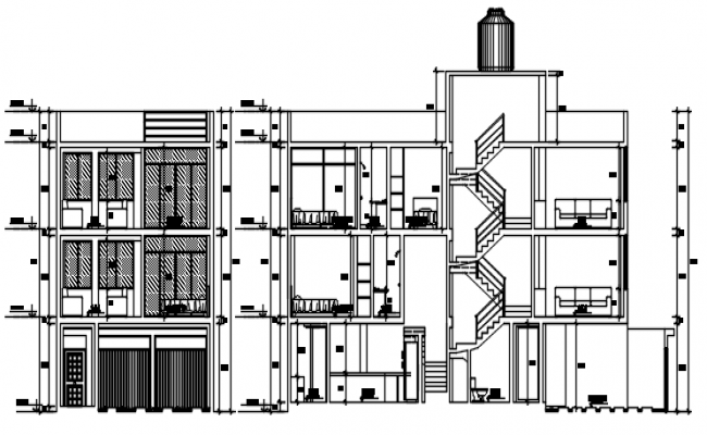 Design of residential flat with detail dimension in dwg file