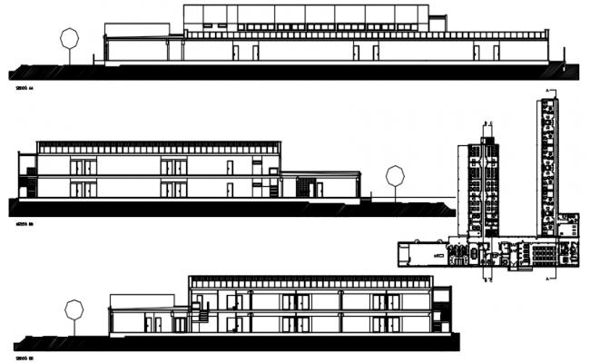 Design of school building in dwg file