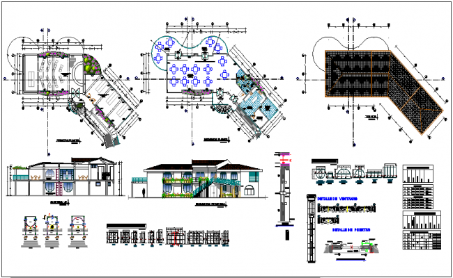 Design of school with plan and section with view of column,door and window with detail and roofing plan dwg file