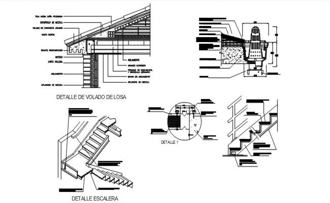 Design of staircase with detail dimension in autocad
