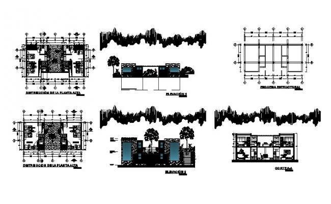 Bungalow Plan Elevation And Section Drawings In DWG File