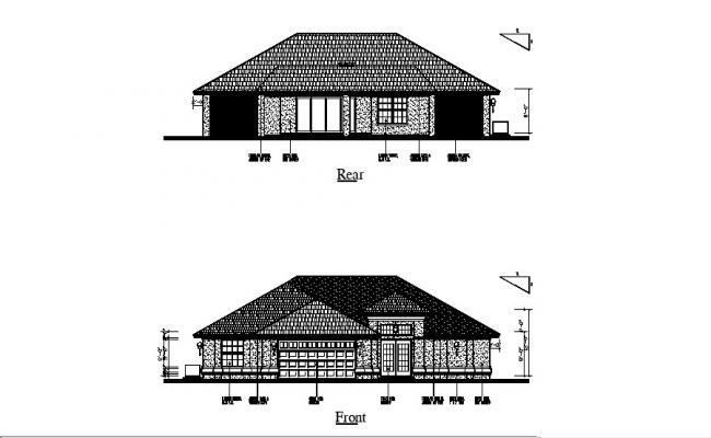 Small House Elevation Design In DWG File
