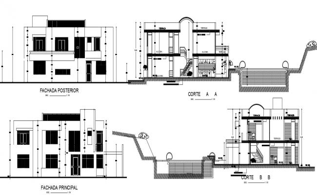 House design with detail dimension in AutoCAD